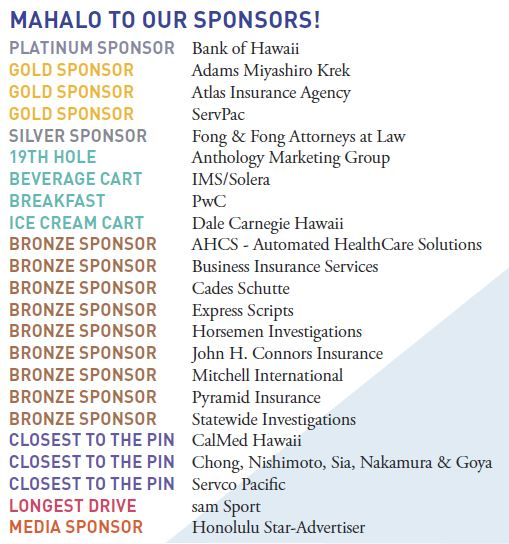 Mahalo Golf Tournament Sponsors